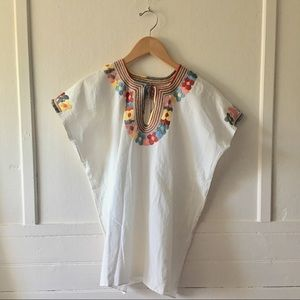 Vintage Hand-Embroidered Mexican Huipil - Pastel